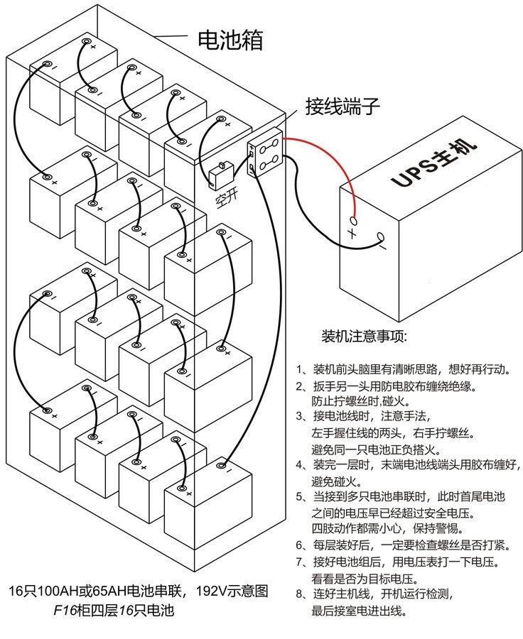 UPS电源16节192V串联接线图
